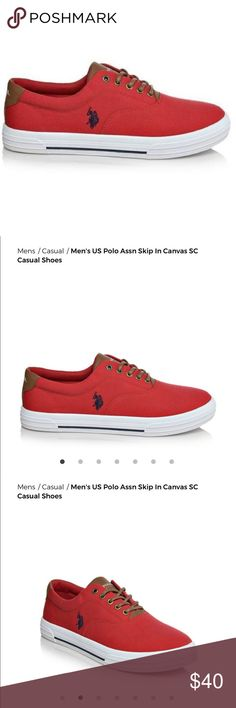 Men's U.S. Polo Assn. Canvas Sneakers Worn just once. No pet/smoke house. Like new condition. Lace-up classic, casual style with the U.S. Polo Assn. Finish off your everyday look with the versatile U.S. Polo Assn. Rubber traction outsole Lace-up closure Stitching accents Soft fabric lining Cushioned insole Faux leather accents Canvas upper Padded tongue and collar for added comfort Flexible vulcanized construction with sidewall trim and textured toe bumper. Photo 3 to 7 is the actual shoe…