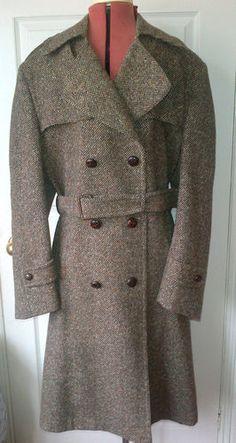 Austin-Reed-ladies-manx-tweed-coat-size-14-rare-trench-coat-style-wool-coat