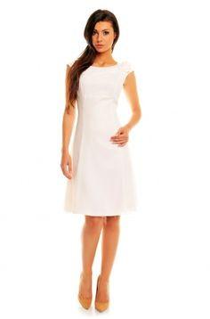 Sukienka z szyfonu z kwiatkiem KM87 na wesele