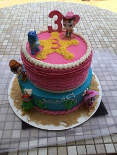 Aubrey's Sheriff Callie birthday cake for her 3rd birthday! Figurines from Amazon and cake by Brittany Jackson.