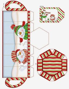 Christmas: Boxes with Snowmen for free Print.