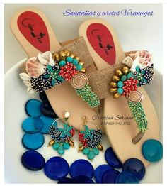 Shoes Flats Sandals, Beaded Sandals, Girls Sandals, Bare Foot Sandals, Cinderella Shoes, Curvy Girl Fashion, Beaded Embroidery, New Shoes, Beading Patterns