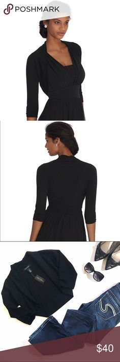 WHBM Essential Shrug One more reason to wear sleeveless tops— sweet little shrug is sure to keep your shoulders warm and add a bit of modest coverage to any day or night look. Close stretch fit. 3/4 sleeves with ruched sleeves. Ruching at the nape. White House Black Market Sweaters Shrugs & Ponchos