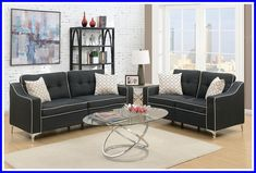 price for Sofa + Loveseat, Captivate your guests with this stylish black polyfiber linen-like fabric sofa and loveseat set. Affordable and nice-looking this set is perfect for smaller spaces. Contrasting trim and metal chromed legs.Sofa x x x x Black Fabric Sofa, Black Sofa, Navy Sofa, Sofa And Loveseat Set, Sectional Sofa, Silver Velvet Sofa, Living Room Sets, Living Room Furniture, Leather Living Room Set