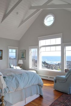 This coastal cottage is perched just a bit above the ocean that has carved out the rugged Maine coastline. The interior is a haven where the residents watch the ocean . Read moreA Quiet Cottage on a Craggy Coast Coastal Bedrooms, Coastal Living Rooms, Coastal Cottage, Coastal Style, Coastal Decor, Modern Coastal, Cottage Art, Beach Cottage Bedrooms, Cottage Living