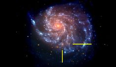 Galaxy M101 After Supernova.  That same galaxy in a NASA Swift image is shown, with bars indicating the location of supernova SN 2011fe. The Swift image is a false-color image with UV emission blue and optical emission red.
