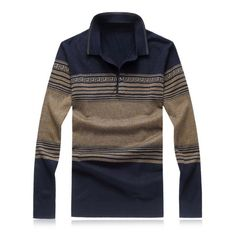 30$  Watch here - http://diwmn.justgood.pw/go.php?t=199391009 - Geometric Strip Turn-Down Collar Plus Size Sweater 30$