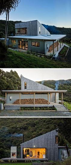 This modern house uses locally sourced wood and galvanized corrugated iron for the exterior materials. : This modern house uses locally sourced wood and galvanized corrugated iron for the exterior materials. Architectural Design Studio, Casas Containers, Rural House, Modern House Design, Exterior Design, Modern Exterior, Gray Exterior, Roof Design, Modern Architecture