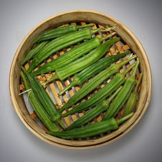 Steamed okra from the garden...Simple and delicious.  Eat  as is or toss with a little salt and pepper and olive oil #simple #growsomething #okra #garden #eatclean #eathealthy