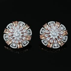 Round Cut Bridal Stud White CZ Crystal Rose Gold Clip on Wedding Earrings Wedding Earrings, Wedding Jewelry, Clip On Earrings, Stud Earrings, Diamond Earrings, Diamond Jewelry, Crystal Rose, Gold Jewellery Design, Stylish Jewelry