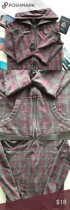 ✈️Purple and gray plaid hoodie with strips of gold Delias: purple and gray plaid hoodie with strips of gold. Arm length is about 21 1/2 inches. Normal wear and tear of a used jacket. Offers are always welcomed.  ✈️sorry no trades or modeling ✈️ delias Jackets & Coats
