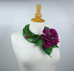 Felted necklace felted collar felted flower felt by AnnaWegg