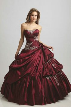 Sweetheart Ruched Flower Long Appliques Ball Gow Burgandy Wholesale Quinceanera Dresses