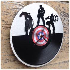 Re-purposed recycled Vinyl Record - Captain America -  vinyl clock