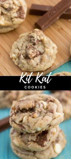 Mix up your chocolate chip cookies - add some candy and make Kit Kat Cookies! Kit Kat Cookies - My favorite chocolate chip cookie recipe is now filled with chopped Kit Kat candy bars and white chocolate. Kit Kat Cookies are my new favorite! Brownie Cookies, Kit Kat Cookies, Cookies Receta, Cake Mix Cookies, Sugar Cookies Recipe, Yummy Cookies, Cookies Et Biscuits, Kit Kat Cupcakes, Candy Bar Cookies