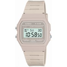 This white watch from the stylish range of unisex watches by Casio is water-resistant for depths of up to and features a segmented white resin strap, a… Casio Watch, Casio Vintage Watch, Casio Classic, Retro Watches, Casual Watches, G Shock, Casio Rose, Sport Watches, Unisex