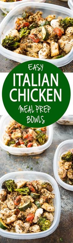 Easy Italian Chicken Meal Prep Bowls: Seasoned chicken, zucchini, broccoli, onions, and grape tomatoes all cooked on one pan, and served over brown rice. Makes 4 meal prep containers, good for 3-5 days.