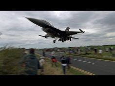 Turkish F-16 Pilot Ducks Under The Glide Slope, Low Over the Plane Spotters. - YouTube