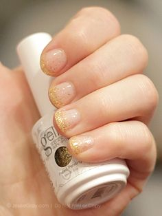 """Gelish Gel Nail polish. """"Bashful"""" base color, then a light coat of """"Twinkle"""" to add sparkle, finally a extra coat of """"Twinkle"""" on the tips. Slight gradation effect."""