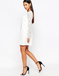 Lipsy A Line Swing Dress With Lace Sleeve