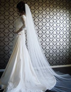 "Pure Silk Luxury Softest Silk Chapel Length Veil 145"" Wide Silk Tulle Veil by IHeartBride V-AS1919. $639.00, via Etsy."