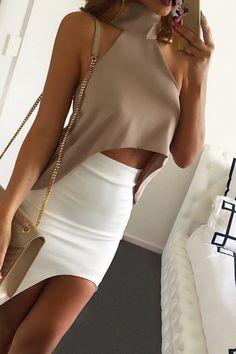 Sexy high-necked sleeveless dew shoulder chiffon blouse