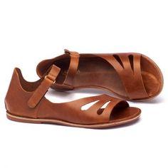 Rasteira Flat caramelo em couro 136017 | Laranja Lima Shoes