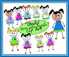 10 doodle girls with pigtails....yes, they are 'doodles' so they may have slight imperfections :-)You may use these girls in your products for commercial use or just use them in your classroom for personal use. A link back to my store is required when using for commercial products.