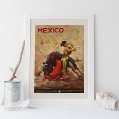 MEXICO TRAVEL POSTER Matador Poster Frame-Ready Ikea Ribba Mexico Art Print Wall Art Toro Bull Fighter by EncorePrintSociety on Etsy https://www.etsy.com/listing/191218588/mexico-travel-poster-matador-poster