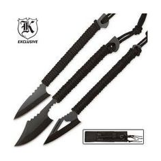 Survival Harpoons Triple Knife Set with Sheath. Basic Camping Gear.