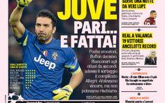 RASSEGNA STAMPA, Juve avanti  con il pari, Roma questa sera tocca a te. Ecco la prima pagina della Gazzetta dello Sport #championsleague #juventus #roma #calcio