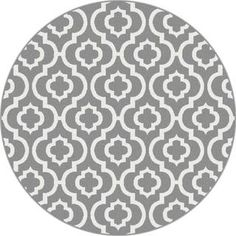 Metro 1029 Grey Contemporary Area Rug (5'3 Round) | Overstock.com Shopping - The Best Deals on Round/Oval/Square