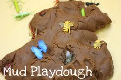 "Mud playdough - this looks like it will be fun for our kindergarteners when they work on their ""animal tracks"" theme this summer. sensory activities, monster trucks, mud playdough, bug theme for preschool, camping theme, bugs preschool activities, little boys, kid, preschool bug craft"