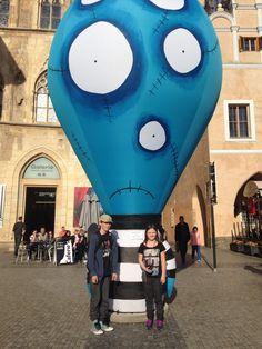 My kids at the Tim Burton exhibition - Prague