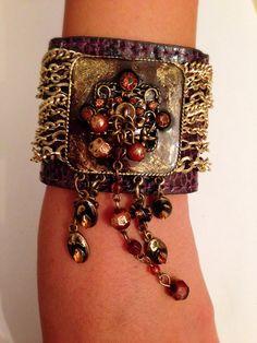 Boho chic Bracelet hand made Pate brown by RachelGefenDesigns