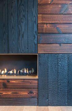 la technique du bois brule ou shou sugi ban zwarthout showroom kamine wandverkleidung