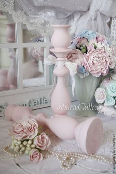 """Купить Подсвечники деревянные """"Love Pink"""" + свечи в подарок! - розовый, подсвечник, дерево, шебби"""