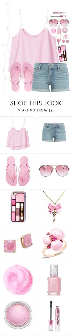 """""""Cotton Candy Girl"""" by kittylover800 ❤ liked on Polyvore featuring MANGO, Paige Denim, Havaianas, Minnie Rose, Kate Spade, Pomellato, Essie and MAC Cosmetics"""