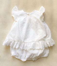 2de1eb96e67 Ralph Lauren Sunset Flyaway Back Eyelet Bubble Romper Playsuit White