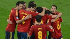 #Spain players enjoy a victory that moves them top of Group C with four points from two matches