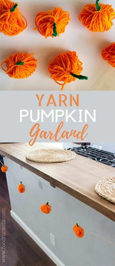 This pumpkin garland tutorial is the perfect craft with the kids that doubles for an adorable decoration. I only spent $3 total on this craft! via @foodfunkids