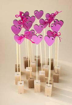 Set of 10 wood hearts  gift card Valentine's day or by PurpleGolg, $25.00