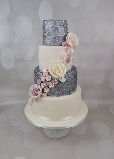 Silver Glitter Wedding Cake with Roses
