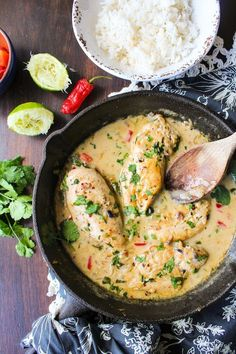 Creamy Coconut Lime Chicken. So yummy! Served with cauliflower rice (garlic,  lime, cilantro). Would make again and again! Jsp