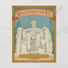 Lincoln Memorial Washington DC WPA Style Postcard