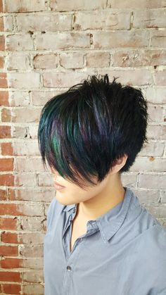 Oil slick hair teal hair purple hair blue hair pink hair short hair cut and color by Maura D'arcy