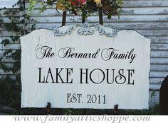CUSTOM LAKE House BEACH House Family sign HOME Decor 14x26