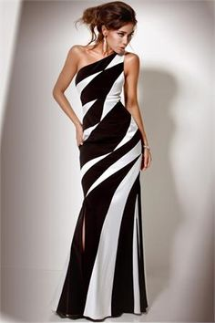 Black white evening bridal gowns on pinterest black for Unique black and white wedding dresses