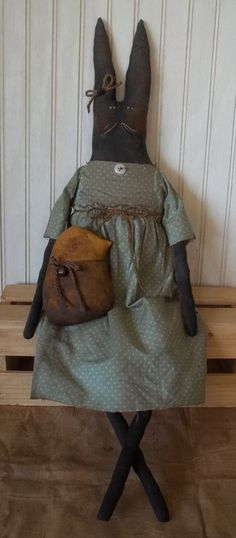 Primitive Grungy Mrs. Bunny Rabbit Doll & Her Easter Chick #NaivePrimitive