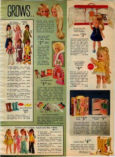 1972 Sears Grow Hair Dolls, by Uneeda and Mattel and Sears Fashions for Crissy and Cricket